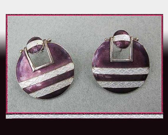 GUILLOCHE Enamel Sterling Silver EarringsPurple and by VdeB