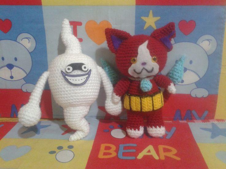 Yo kai Watch Whisper y Jibanyan, #amigurumi #crochet Chile. Solo imagen