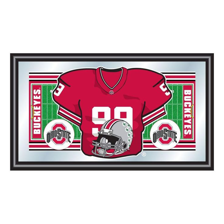 Ohio State Football Jersey 15 in. x 26 in. Black Wood Framed Mirror