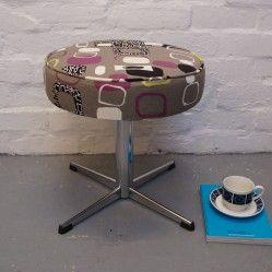 vintage chrome legged stool reupholstered in Sanderson Festival fabric. vintageactually.co.uk
