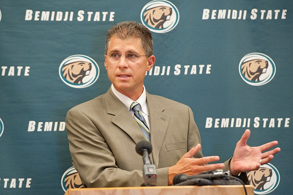 Bemidji State's new head coach Mike Boschee addresses the media at his official introduction as coach July 17, 2012.
