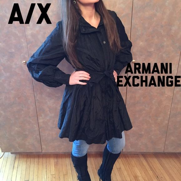 ARMANI EXCHANGE Coat Black trench coat/rain jacket. Armani exchange A/X. Chic & fashionable puffy sleeves, A-line bottom, ties with a belt at waist. Zippers up & snaps closed. Excellent condition, the only minor damage is the belt loop, see last pic. Armani Exchange Jackets & Coats Trench Coats