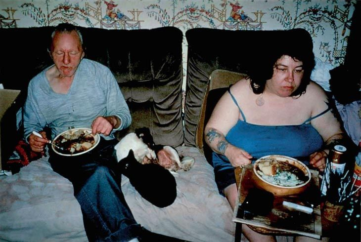 Richard Billingham's uses a snapshot style in his project Ray's A Laugh to document the life of his alcoholic father Ray, and obese, heavily-tattooed mother, Liz.
