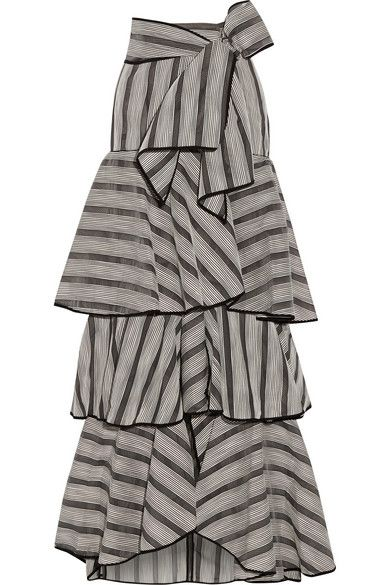 JOHANNA ORTIZ Gabo Ruffled Striped Organza Maxi Skirt. #johannaortiz #cloth #skirts