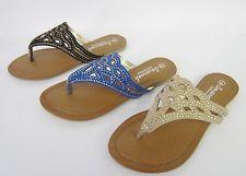Savannah F0759 Ladies Diamante Flip Flops *Available in 3 Colours~Sale