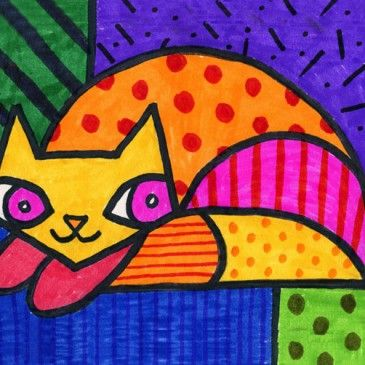 Romero Britto kat This blog has MANY art ideas for Grade 1 and other grade levels. A real keeper!