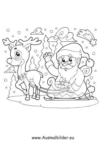 ausmalbild weihnachtsmann fährt mit rentier schlitten zum