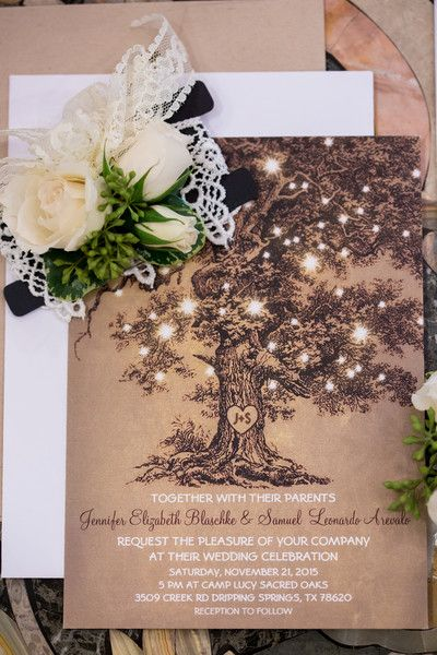 Whimsical wedding invitation idea - brown cards with tree + sparkling lights {Jennifer Weems Photography}