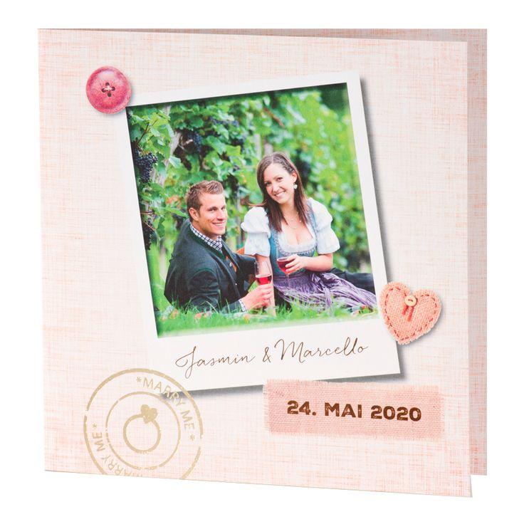 Hochzeit Landhausstil - eigenes Foto & exklusive Goldfolienprägung. Vor Ort bei Wimmer Druck oder online bei Top-Kartenlieferant bestellen.