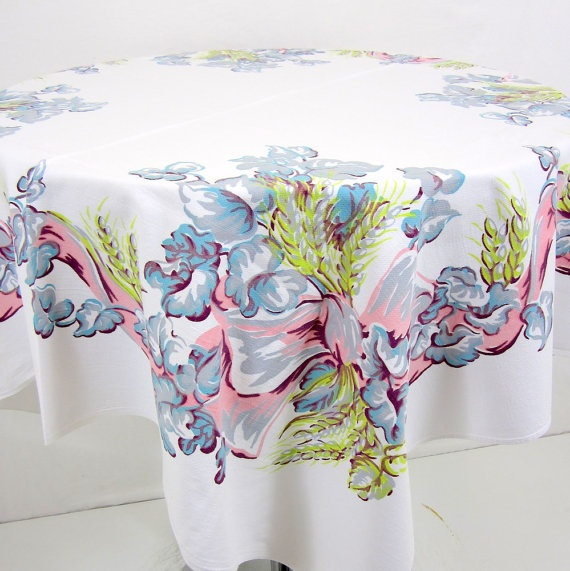 Vintage Tablecloth - Bushels of Wheat Pink and Green leaf scroll design 1950s