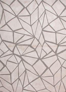 Modern Geometric Pattern Ivory White Polyester Tufted Rug