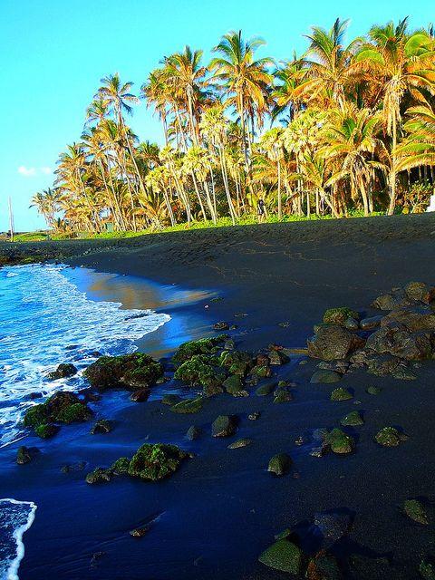 Black Sand at Punaluu Beach on the Big Island of Hawaii