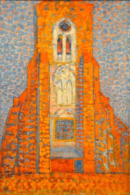 Piet Mondrian - Sun, Church in Zeeland, Zoutelande Church Facade, 1910 at Tate Modern Art Gallery