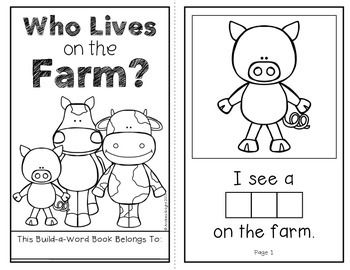 Who Lives on the Farm?  (An Interactive Build-A-Word Book for K-1 Readers)  #farmanimals  #wordwork  $