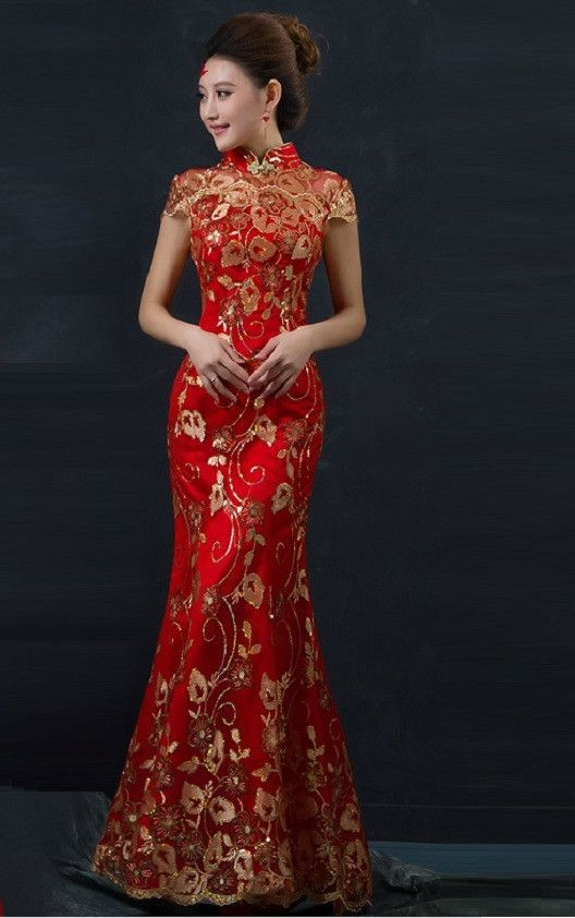Chinese Wedding Fishtail Gown Cheongsam Bridal Evening Banquet Dress | Custom-made service provided for this dress for USD $40. It will take 5-7 days to custom make this dress. Offer measurements (bust, shoulder, waist, hips, height, and dress length) in the users comments when making order.