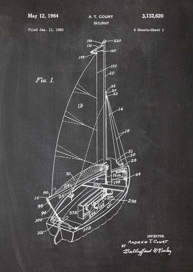 Segelboot, Schiff, Patent, Zeichnung  http://de.dawanda.com/product/78694275-Segelboot-Schiff-Patent-Zeichnung-Druck