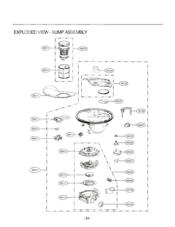 LG Dishwasher LDF7551ST Parts List