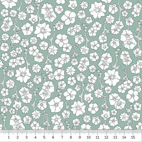 Roses trémières - Ile de Ré Tissu fabriqué en France