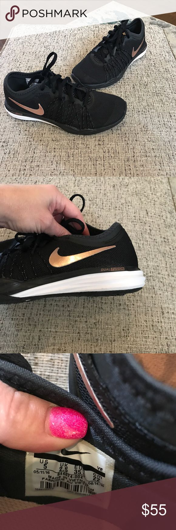 Nike dual fusion Black and rose gold. Worn once. Size 5 Nike Shoes Athletic Shoes