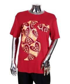 Buy Female T-shirt with Ankara appliques-Red from Bosh Designs  at ₦10000.00 on Bargain Master Nigeria