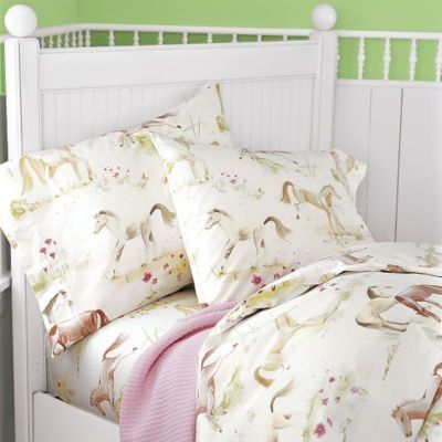 Horse Quilts for Girls Room | Pretty Ponies Percale Girls Bedding - Kids Decorating Ideas
