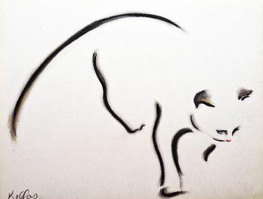 "Saatchi Online Artist Kellas Campbell; Drawing, ""Cat in Charcoal Pastel"" #art"
