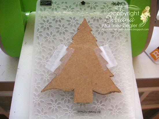 "DIY embossing diffuser chipboard taped to embossing folder:  How to emboss a ""Christmas tree"" /triangle from an embossing folder, that would normally emboss the whole paper..."