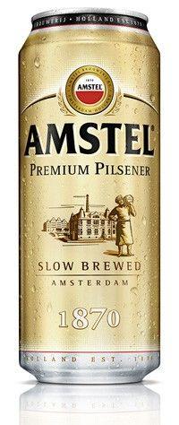 Cerveja Amstel Premium Pilsener, estilo German Pilsner, produzida por Heineken Nederland, Holanda. 5% ABV de álcool.