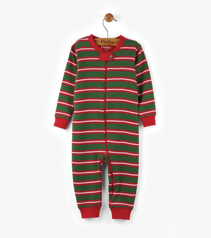 Santa Stripes Organic Cotton Baby Waffle Coverall - Sleepwear - Shop All - Baby Boys  | Hatley Canada