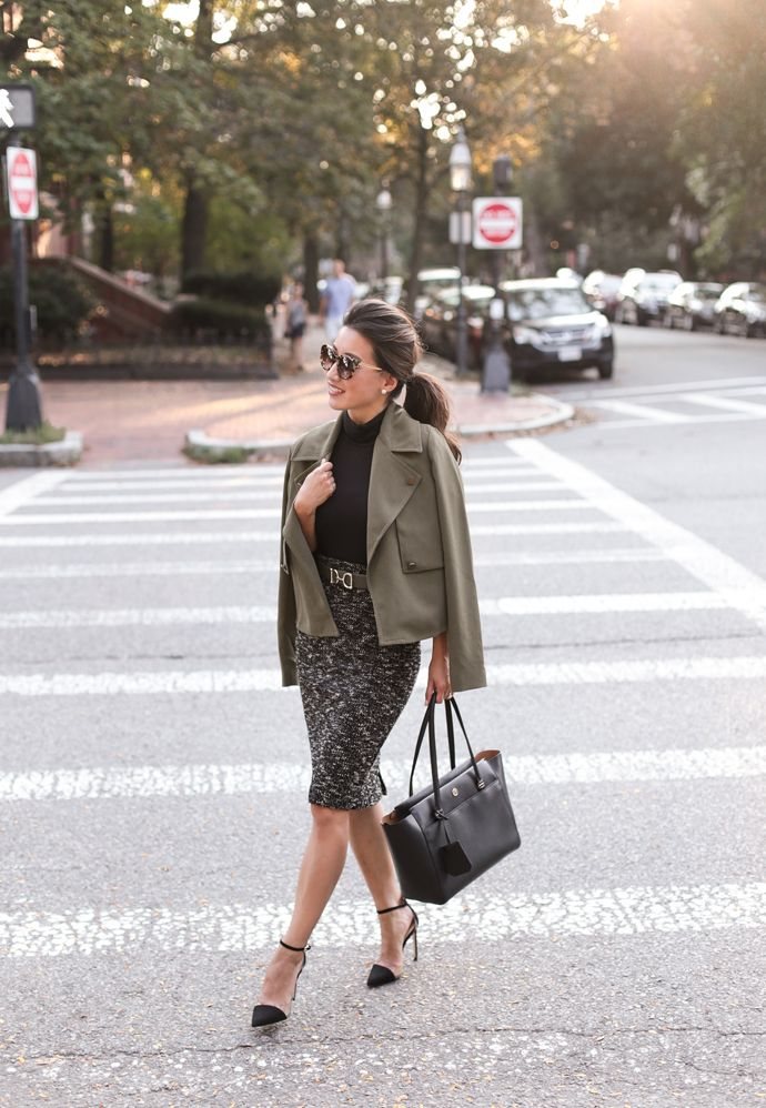 classy outfits tweed petite pencil skirt olive trench coat