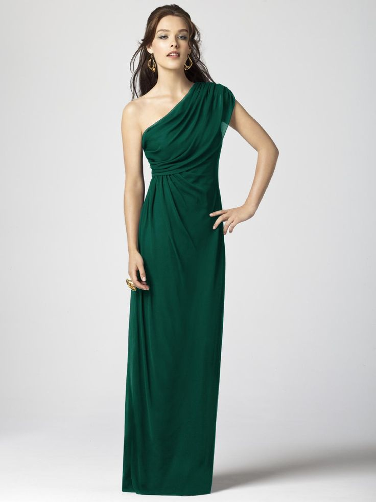 Dessy Collection Style #2858 Gown. This is a little softer fabric, for a less severe look.