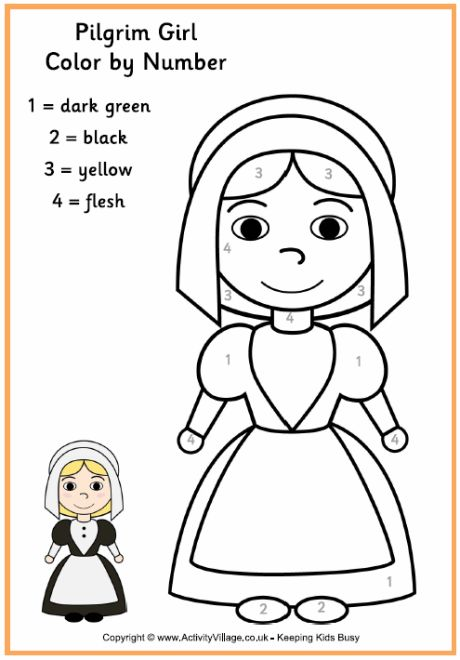 Pilgrim Girl Colour by Number