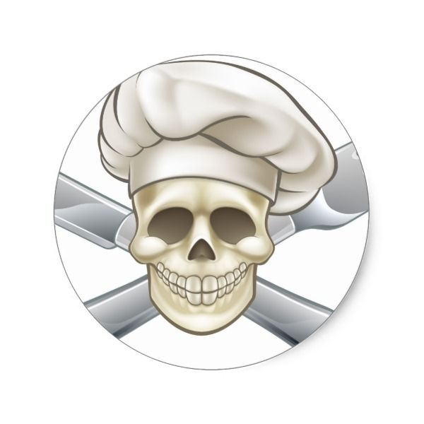 Knife and Fork Pirate Chef Classic Round Sticker #halloween #holiday #creepyhollow #stickers