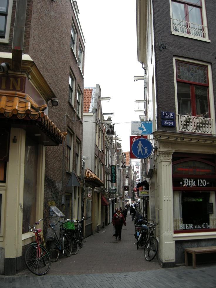 Cinatown. Old houses in a narrow side street of the Zeedijk, Amsterdam