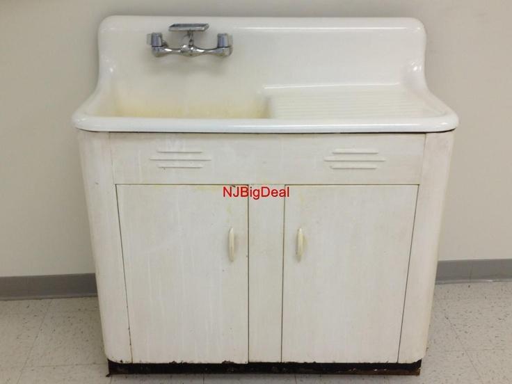 Vintage Kitchen Sink With Cabinet White Porcelain Cast