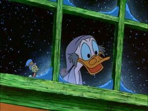 """Ebenezer Scrooge (McDuck) is excited to be shown a scene from his youth by the Ghost of Christmas Past (a.k.a. Jiminy Cricket) in """"Mickey's Christmas Carol."""""""