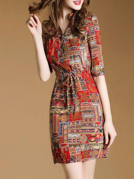 0a914ff54b Buy Dresses For Women at Popjulia. Online Shopping Popjulia Stand Collar  Women Red Dress A-line Date Dress Elegant Tribal Dress