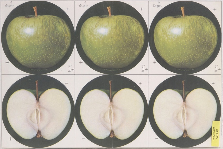 """Apple-Records-Logo-Proof.jpg 1,600×1,070 pixels """"Abby Road"""" was the first album I pulled out of the jacket when I was old enough to put a record on the turntable. The apple cut in half label was so cool in my mind back then."""