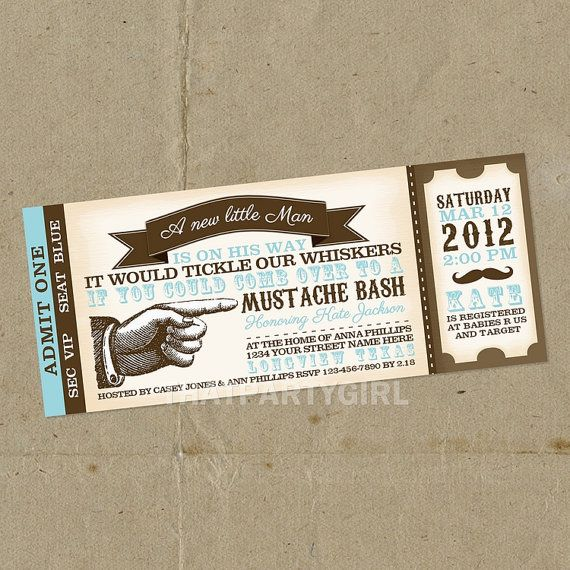 12 Vintage Inspired Mustache Bash Party Ticket by thatpartygirl, $14.99