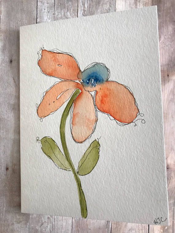Original Watercolor Card Homemade Cards Hand Painted Greeting