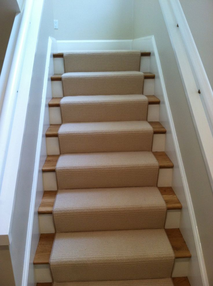 This Is A Wool Carpet Remnant With A Textured Pattern Installed As A Stair  Runner.