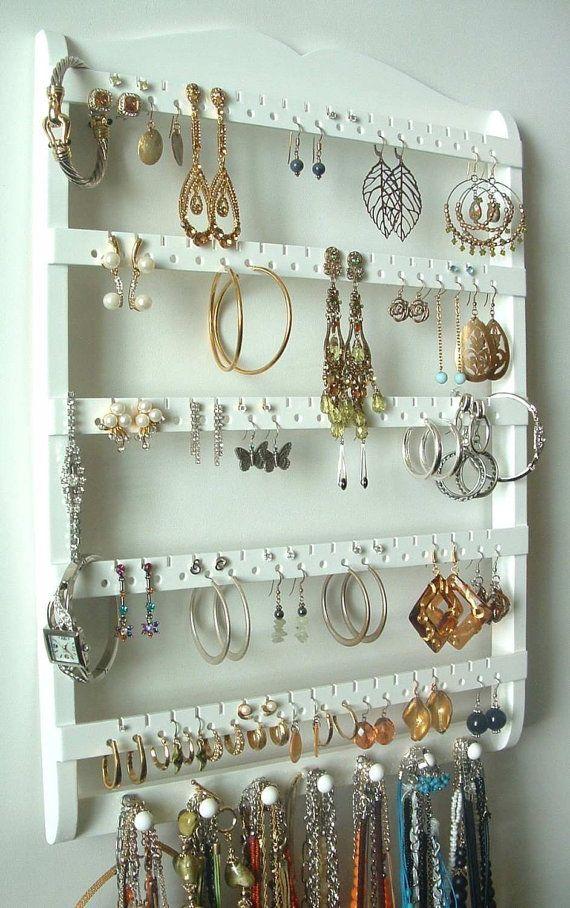 Jewelry Holder Earring Organizer, Solid Oak Wood, White Stain, Jewelry Organizer, Necklace Storage, Wall Rack, Oak Wood, Choose Stai