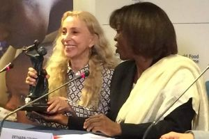Editor-In-Chief of Vogue Italia Franca Sozzani, pictured with WFP Executive Director Ertharin Cousin, will serve as Global Ambassador Against Hunger for the United Nations World Food Programme, focusing on the empowerment of women and WFP's School Feeding Program.
