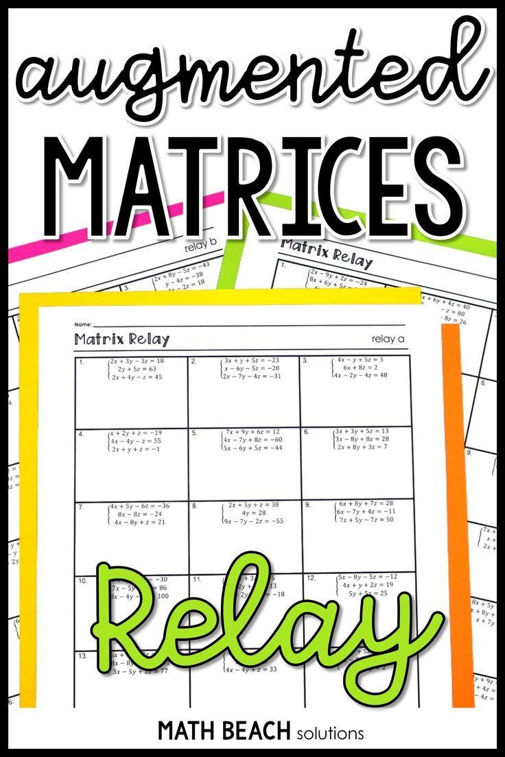 Matrix Relay Activity Algebra Resources Linear Function Algebra Activities