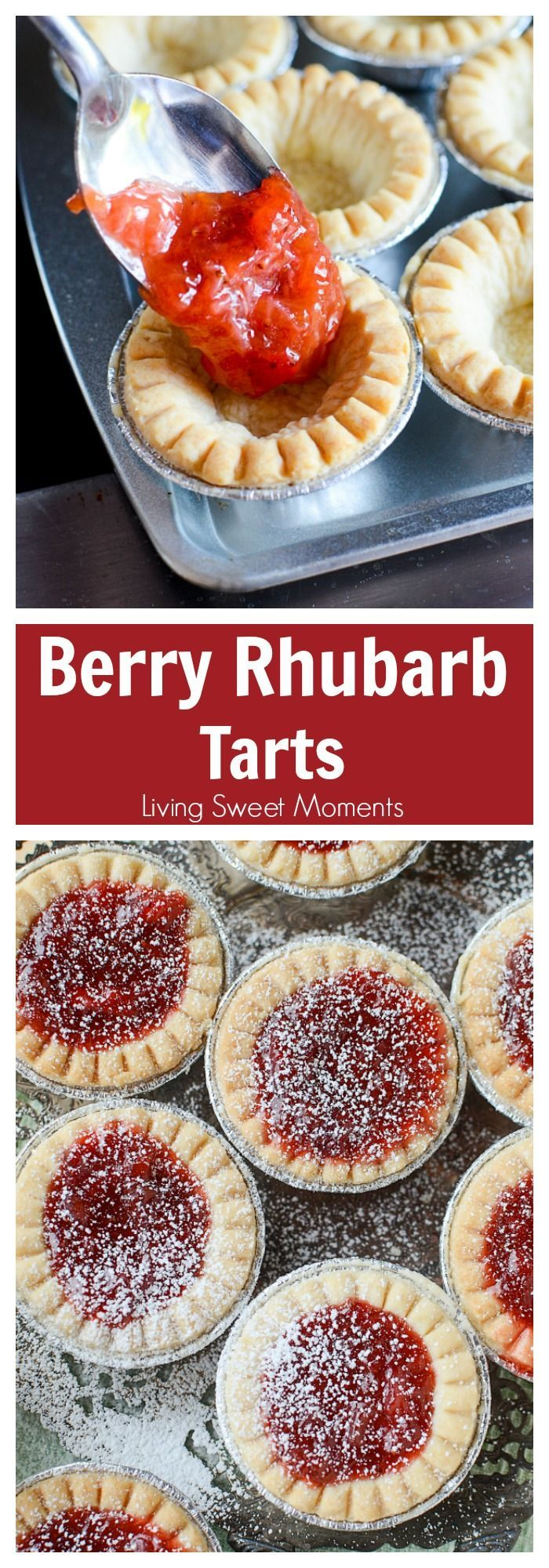 These delicious and tangy Strawberry Rhubarb Tarts are super easy to make and are the perfect mini desserts for any party. Top them with powdered sugar. More dessert recipes at livingsweetmoments.com via @Livingsmoments
