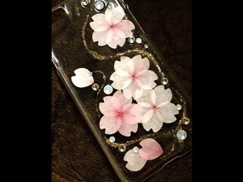 レジン bande のマスキングテープで 桜のスマホケース UV Resin How to Cherry bloosm i phone case by masking tape - YouTube