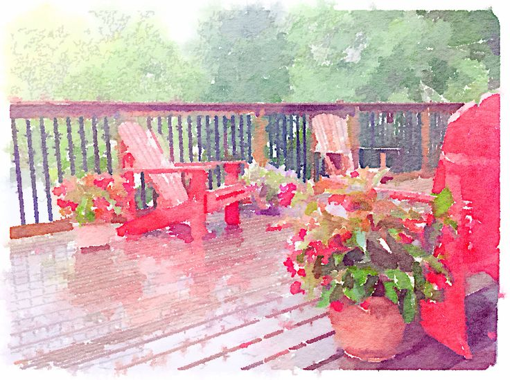 Photo of the deck turned into a watercolour with waterlogue app