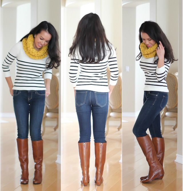 I love everything about this outfit. The striped sweater and cognac riding boots are a great combination.