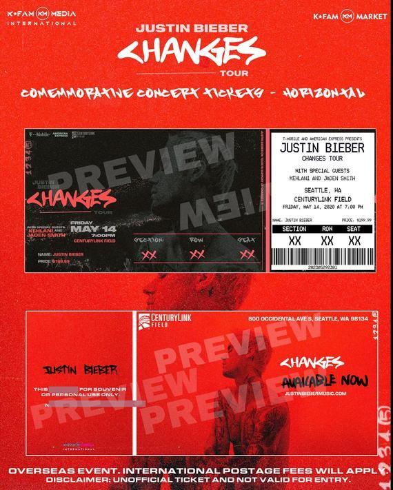 Justin Bieber Changes Tour Commemorative Concert Tickets By Kfammarket Justin Bieber Concert Tickets Justin Bieber Concert