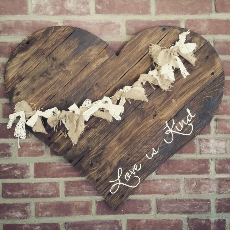 """30"""" Reclaimed Wood Heart with Lace & Burlap"""